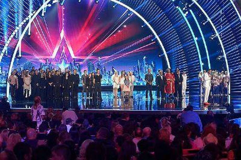 (l-r) Timber Brown, Cami Bradley, 3Penny Chorus and Orchestra, The Robotix, David Ferman, Aerial Ice, Jimmy Rose, Tummy Talk, Nick Cannon and Champions Forever during 'America's Got Talent' at Radio City Music Hall in New York City on Wednesday, August 14, 2013. Photo: Virginia Sherwood/NBC / 2013 NBCUniversal Media, LLC