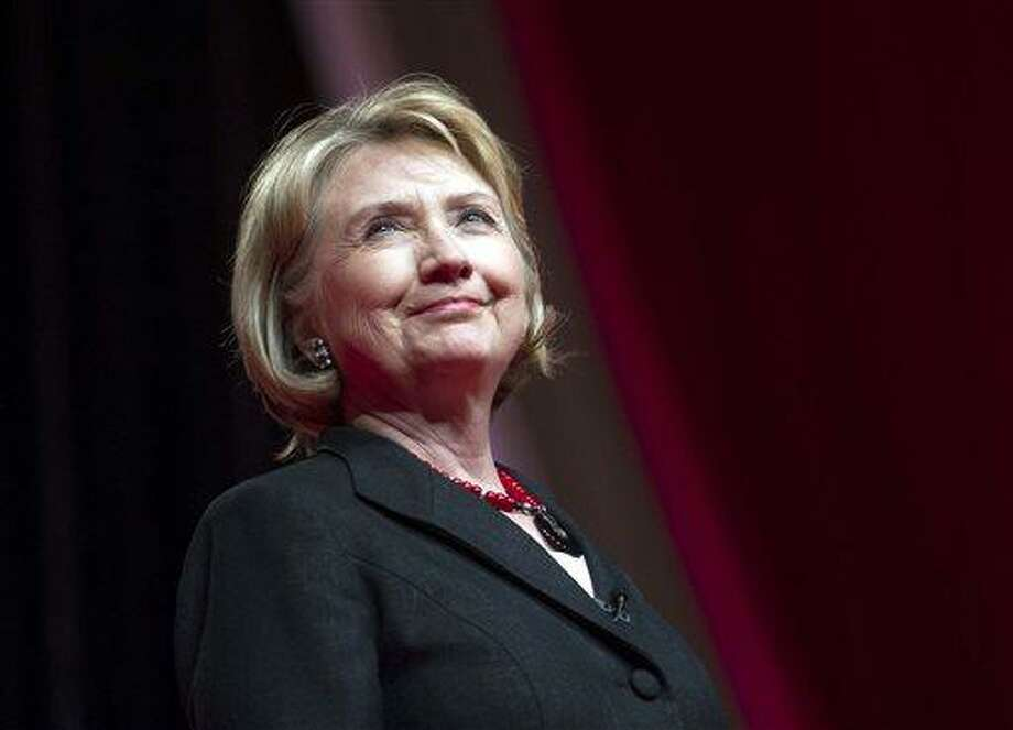 """This July 16, 2013 file photo shows former Secretary of State Hillary Rodham Clinton addressing the 51st Delta Sigma Theta National Convention in Washington. NBC announced Saturday, July 27, that actress Diane Lane will star as the former first lady and secretary of state  in a four-hour miniseries, """"Hillary."""" (AP Photo/Cliff Owen, File) Photo: AP / FR170079 AP"""