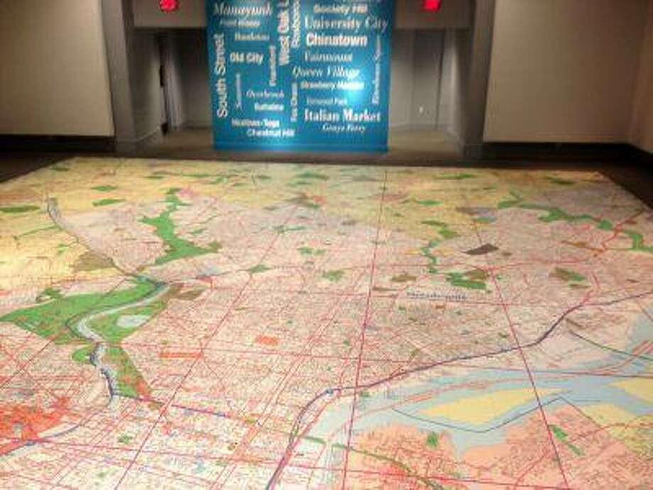 The world's largest map of Philadelphia is seen at the Philadelphia History Museum at the Atwater Kent.