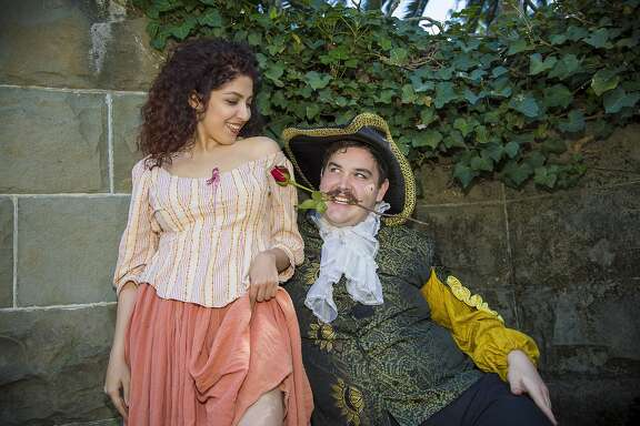 "From left: Shadi Moeini Nejad as Jaquenetta and Braedyn Youngberg as Don Armado in Marin Shakespeare Company's ""Love's Labour's Lost."""
