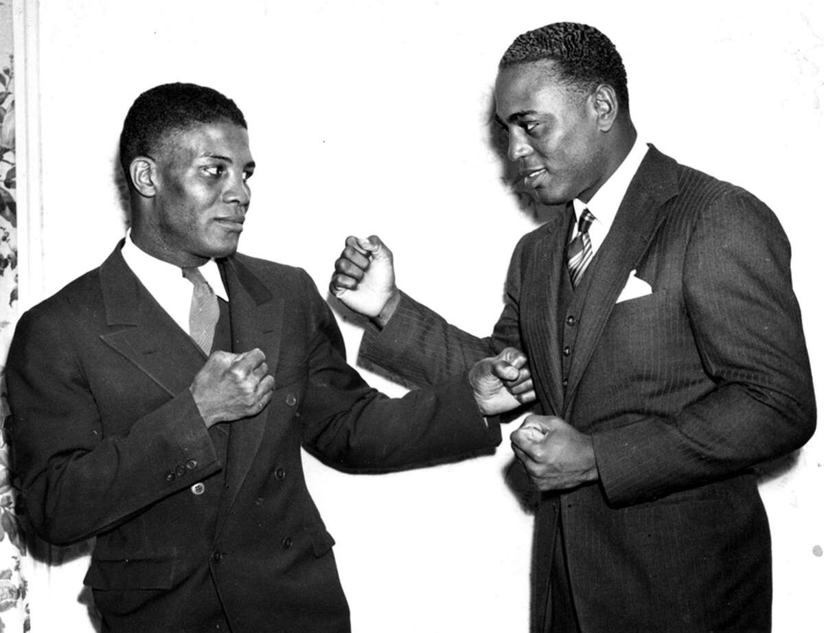 New Haven's Al Gainer, left, fought John Henry Lewis for the light heavyweight championship in 1938 at the New Haven Arena. (Submitted photo)