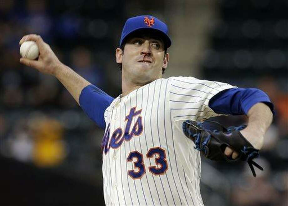 New York Mets starting pitcher Matt Harvey throws during the first inning of the baseball game against the Chicago White Sox at Citi Field on Tuesday, May 7, 2013 in New York. (AP Photo/Seth Wenig) Photo: AP / AP