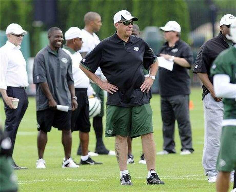 New York Jets coach Rex Ryan looks on during NFL football minicamp on June 11 in Florham Park, N.J. (AP Photo/Bill Kostroun) Photo: AP / FR51951 AP