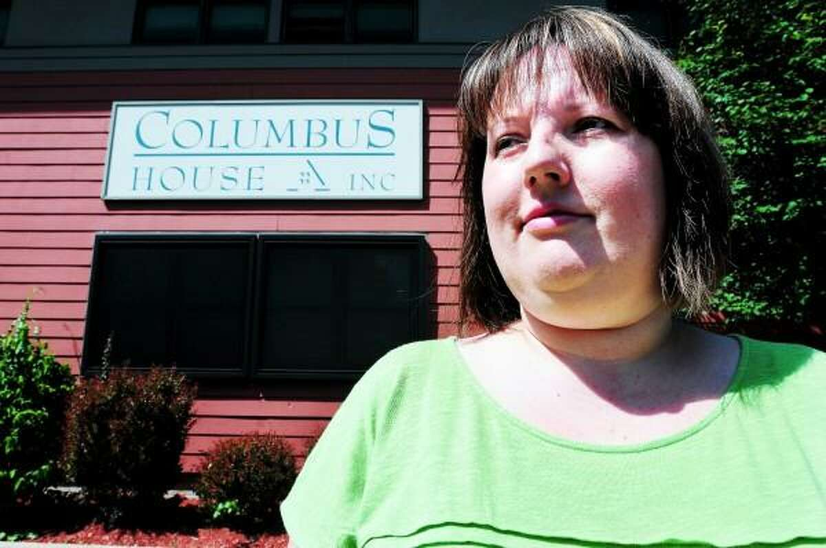 Arnold Gold/New Haven Register Jen Sheldon, photographed on 7/5/2013, is on a sabbatical from Citizens Bank working in the business office and facilities department at Columbus House in New Haven.