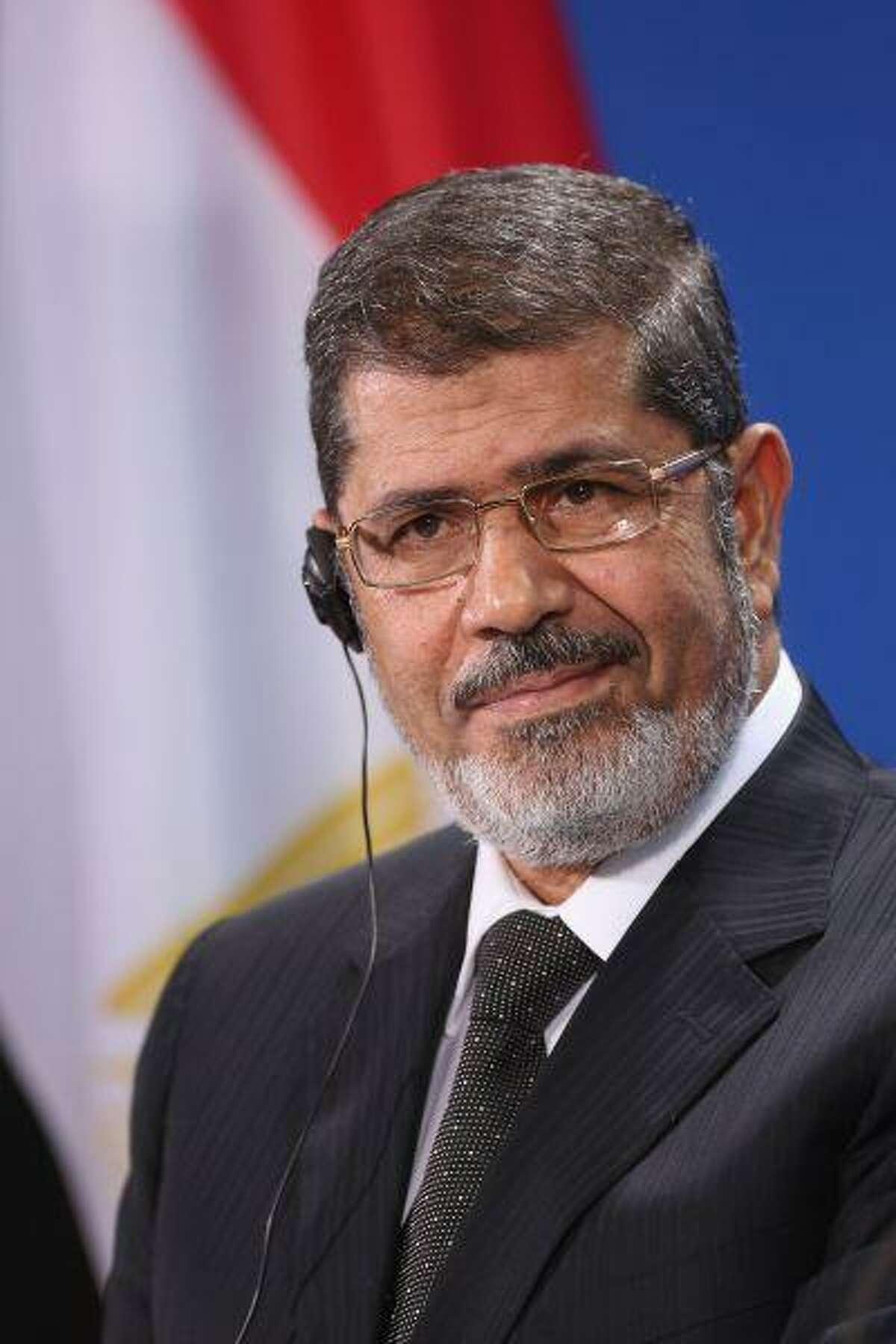 Egyptian President Mohamed Mursi speaks to the media on January 30, 2013 in Berlin, Germany.