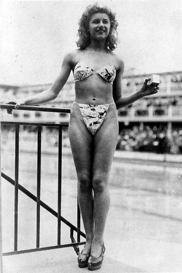 19-year-old Micheline Bernardini models the first bikini 1946. (Wikipedia)