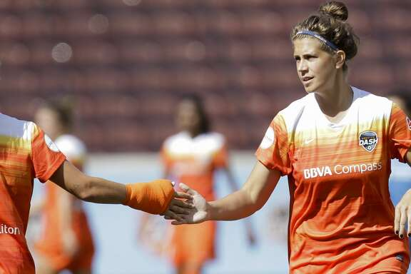 Houston Dash forward Rachel Daly (3) and  forward Sarah Hagen (9) high-five during the second half of the game at BBVA Compass Stadium Saturday, May 13, 2017, in Houston. Houston Dash lost to Sky Blue FC 3-1. ( Yi-Chin Lee / Houston Chronicle )