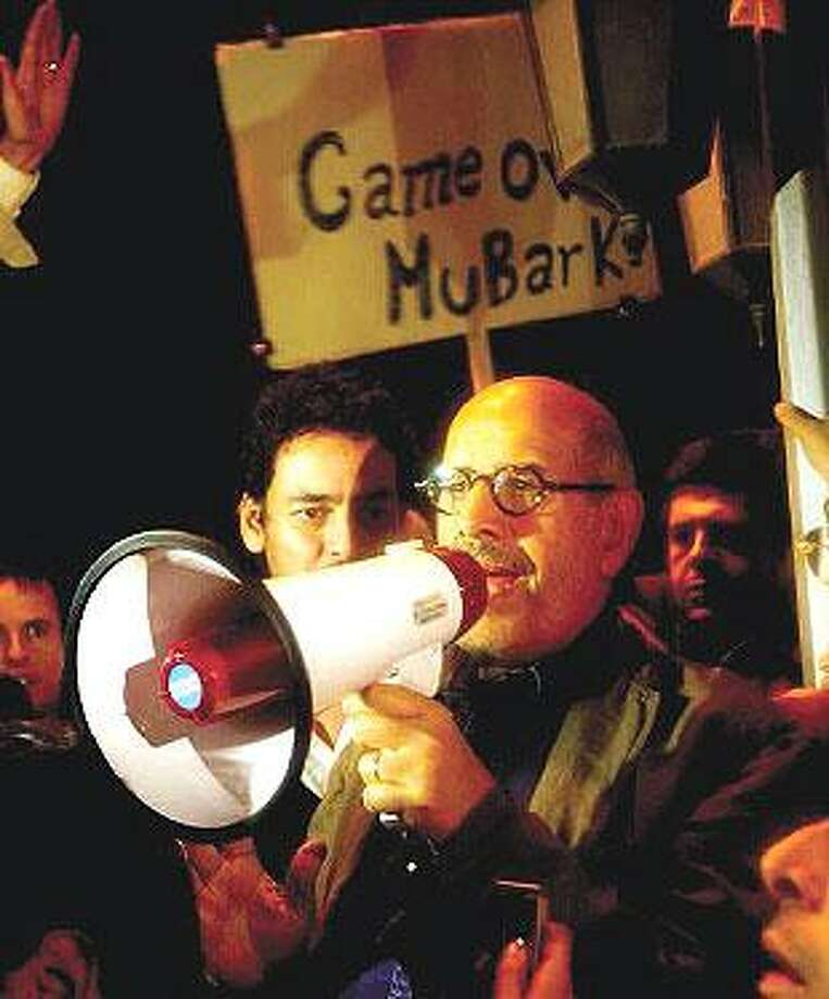 ElBaradei addresses the crowd at Tahrir Square in Cairo. (Associated Press)