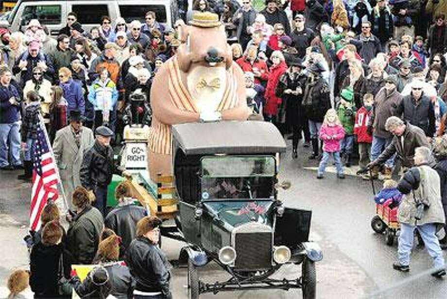 The annual parade with Essex Ed rolls down the street Sunday in honor of Groundhog Day Wednesday. (Mara Lavitt/Register)