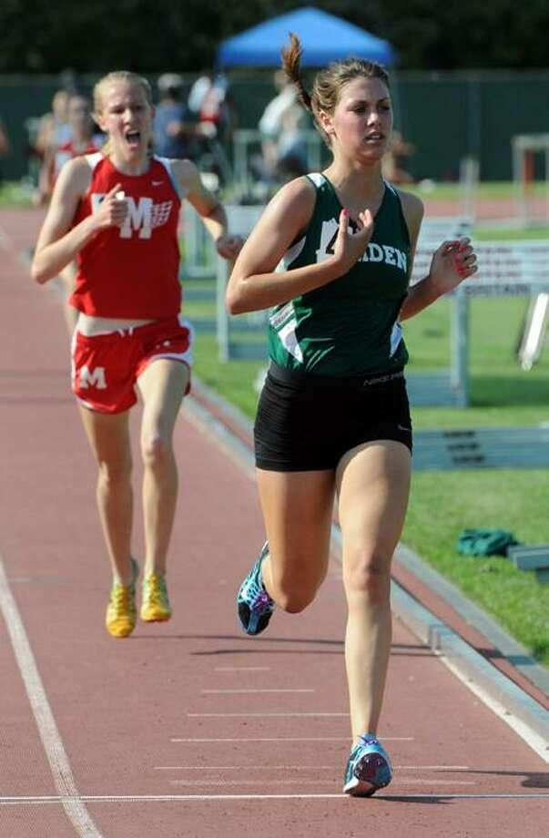 Mara Lieberman finishes third in the 1600 at the Class LL track championships, Willowbrook Park, New Britain.  Photo by Mara Lavitt/New Haven Register