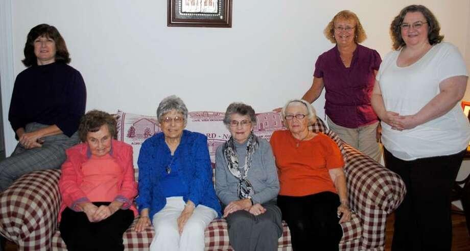 From left, Betty Anderson, June Strawson, Rita McGuire, Evelyn Cibelli, Tina Rava, Maggie Delaney and Eileen Lavoie are members of the North Branford Women's Club.
