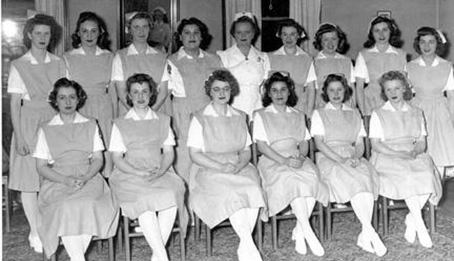 Virginia Spraker in her nursing days. She is in the front row, third from the right.