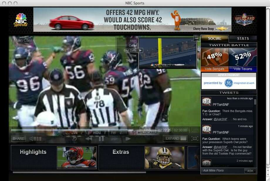 This screen shot from a computer monitor shows pro-football game action without watching television. For the first time, U.S. football fans will be able to watch the Super Bowl live on a computer or on a phone. Associated Press Photo: AP / AP2012