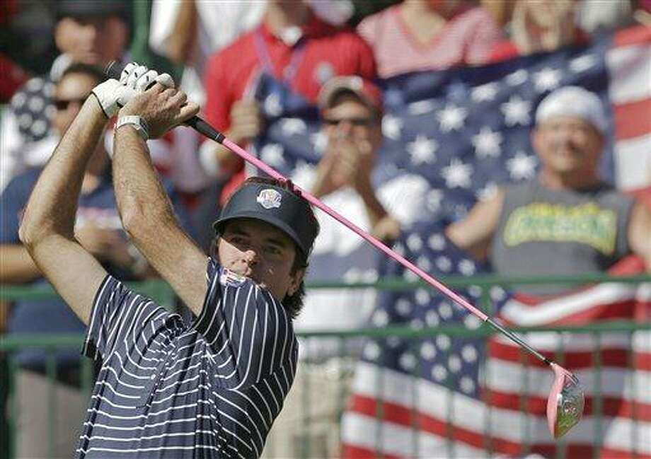 USA's Bubba Watson hits a drive on the first hole during a four-ball match at the Ryder Cup PGA golf tournament Saturday, Sept. 29, 2012, at the Medinah Country Club in Medinah, Ill. (AP Photo/David J. Phillip) Photo: AP / AP