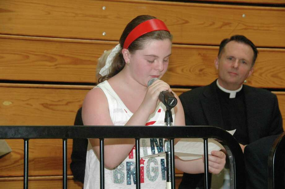"""Melissa Brennan, a fifth-grader at Walsh Intermediate School in Branford, won second place and a $50 savings bond in the """"What Memorial Day Means to Me"""" essay contest. (Photo courtesy of Bill O'Brien)"""