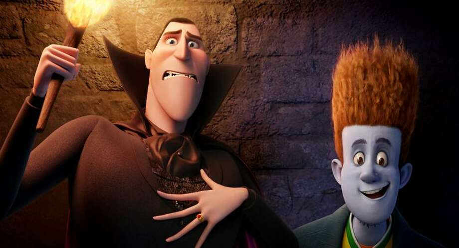"""Sony Pictures: Dracula, left, voiced by Adam Sandler, and Jonathan, voiced by Andy Samberg, in a scene from """"Hotel Transylvania."""" Photo: AP / Sony Pictures Animatio2012"""