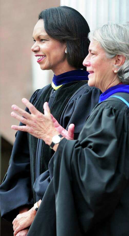 Former Secretary of State Condoleezza Rice (left) and Hopkins School Head Barbara Riley (right) wait for students to be seated before Rice spoke at Hopkins School in New Haven on 9/27/2012.Photo by Arnold Gold/New haven Register   AG0464A