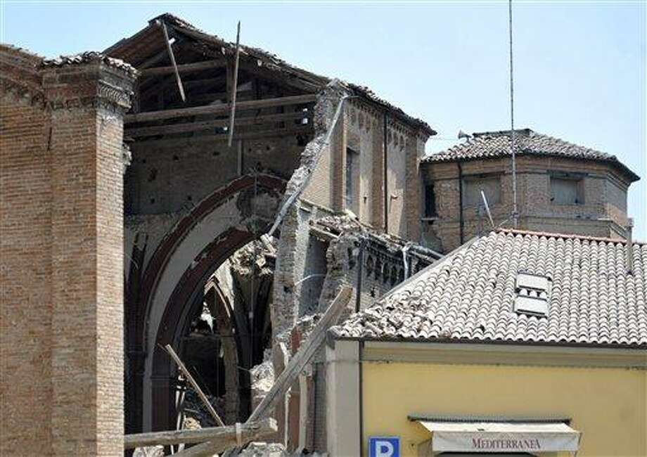 A collapsed church is seen in Mirandola, in northern Italy, Tuesday. A magnitude 5.8 earthquake struck the same area of northern Italy on May 20. Associated Press Photo: AP / AP