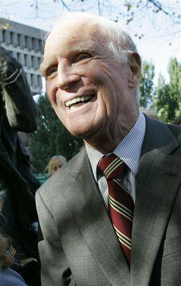 This Nov. 1, 2006, file photograph shows former Boston Mayor Kevin H. White outside Faneuil Hall in Boston. White, who led the city for 16 years, including racially turbulent times in the 1970s, died Friday, a family spokesman said. He was 82. Associated Press Photo: AP / AP2006