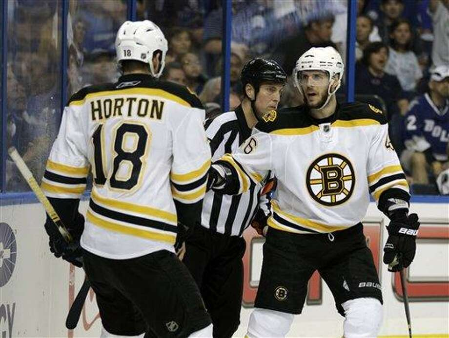 Boston Bruins' David Krejci, right, of the Czech Republic, celebrates with teammate Nathan Horton (18) after scoring his third goal of the game against the Tampa Bay Lightning during the third period in Game 6 of an NHL hockey Stanley Cup playoffs Eastern Conference final series in Tampa. Photo: AP / AP