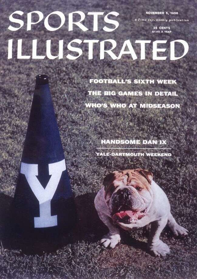 This photo provided by Yale University shows Handsome Dan IX gracing the cover of the Nov. 5, 1956 Sports Illustrated cover. On Tuesday, April 26, 2005, Yale selected the latest successor to the oldest college mascot in America, Handsome Dan XVI. (AP Photo/Yale University) Photo: ASSOCIATED PRESS / AP2005