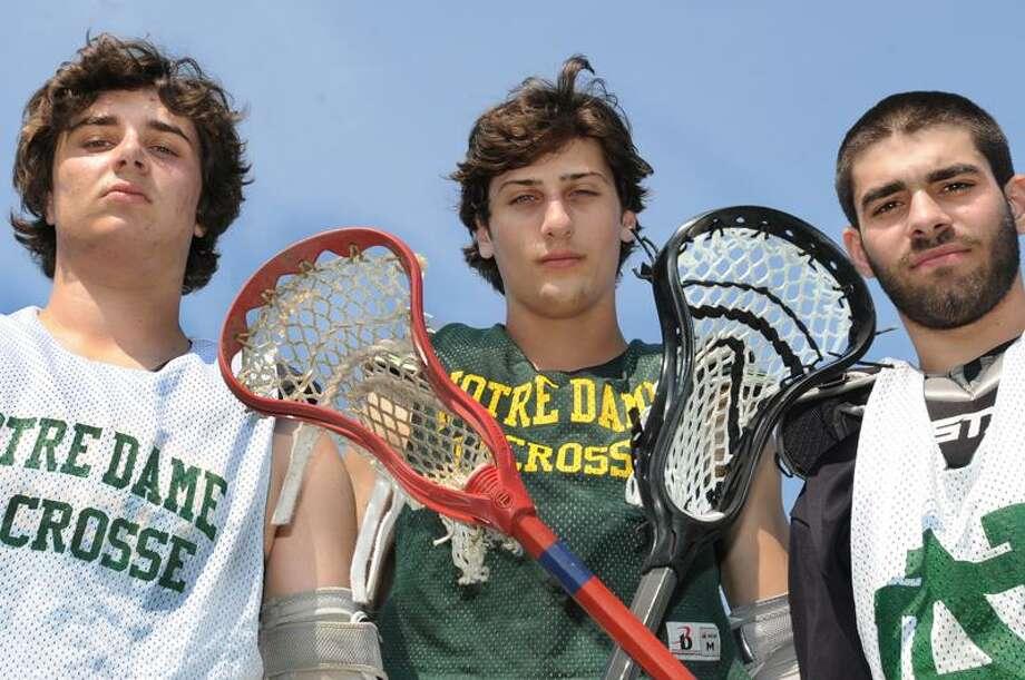 SPORTS Notre Dame Lacrosse Capts. L to R: Kewvin Volpe, Sal Scalia, and Chris Martins. Team of the Week.  Melanie Stengel/Register