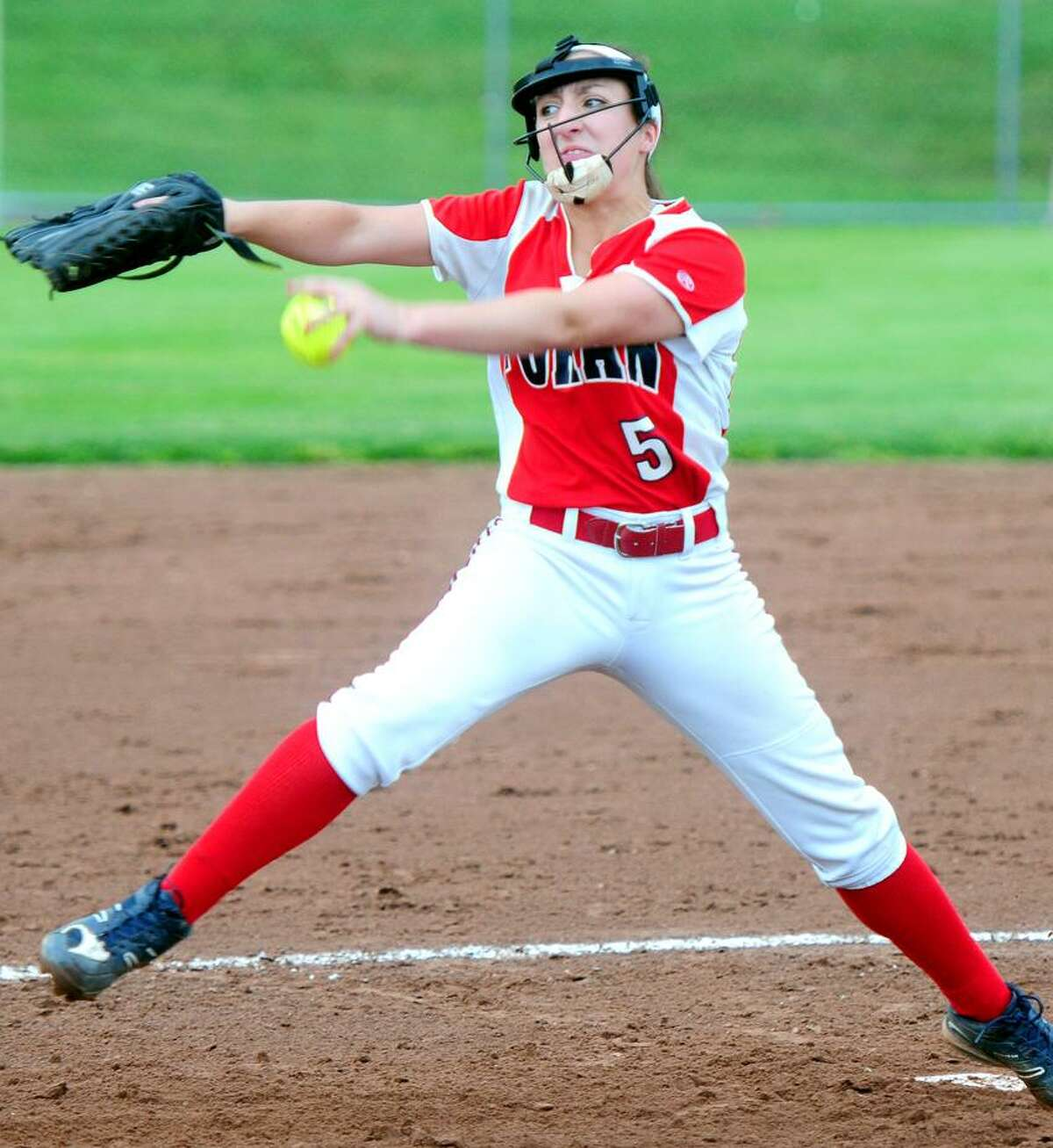 Jess Harkness of Foran pitches against Amity in the SCC Softball Championship on 5/26/2012.Photo by Arnold Gold/New Haven Register