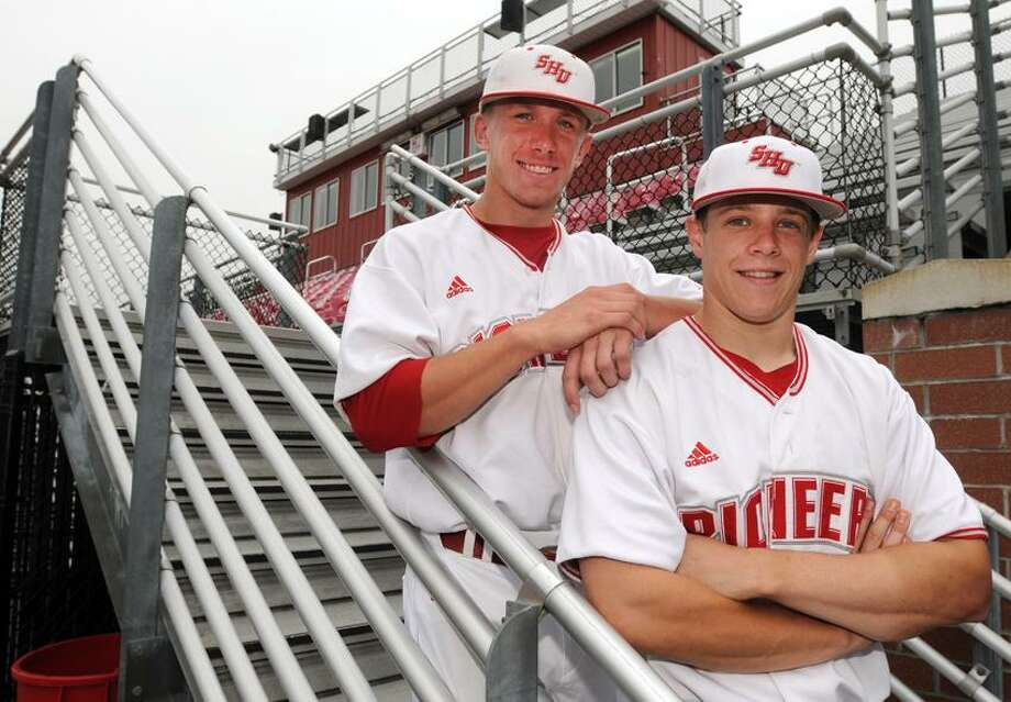 John Murphy, left, and Dan Perez, former baseball  teammates at Seymour H.S. and now members of the Sacred Heart University baseball team that is going to the NCAA tournament. 5/23/12. Photo by Peter Hvizdak/ New Haven Register Photo: New Haven Register / ©Peter Hvizdak /  New Haven Register