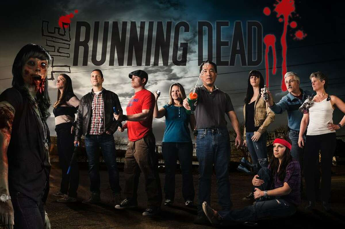 Contributed photo: Meet the zombies of the Running Dead relay race team: Crystal Haynes, left, Erika Montgomery of New Haven, Wendell Webber of Old Saybrook, Eric Leher of Orange, Jes Joseff of Guilford, Tim Shizume of East Haddam, Lindsay Branscome of New Haven, Jeff and Kathy Rowe of Lyme and Dani Cambio-Cusson of West Hartford, seated.