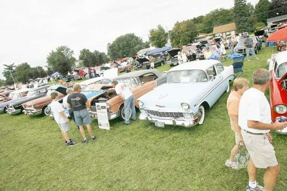Photo by JOHN HAEGER (Twitter.com/OneidaPhoto) Cars fill the field during the annual car show in Wampsville on Sunday, Sept. 11, 2011.