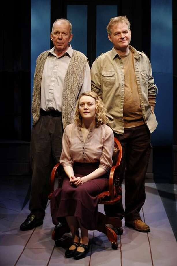 Carol Rosegg: Molly Sweeney (Simone Kirby) is about to get some unwanted help from Mr. Rice (Jonathan Hogan), left, and her husband, Frank (Ciaran O'Reilly).