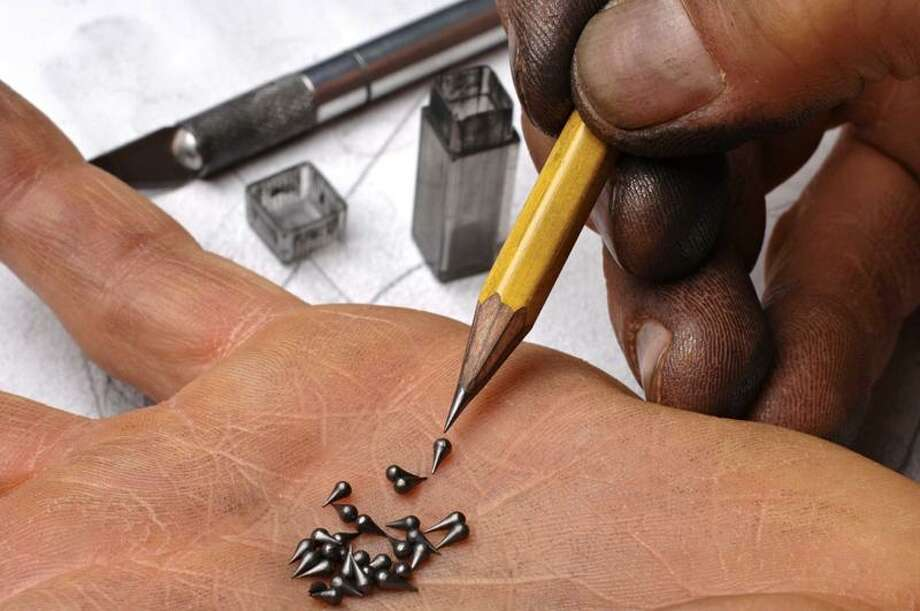 Dalton Ghetti uses, among other tools, a razor and X-Acto knife to carve. Each tiny teardrop was once the tip of a pencil.