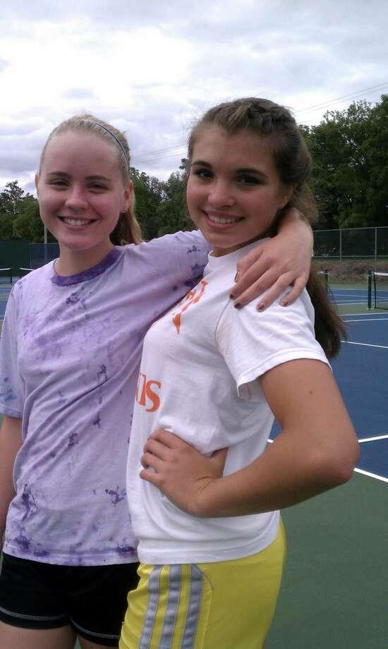 Rachel Markle, left, and Kasia Kinsella of Oneida's girls tennis team