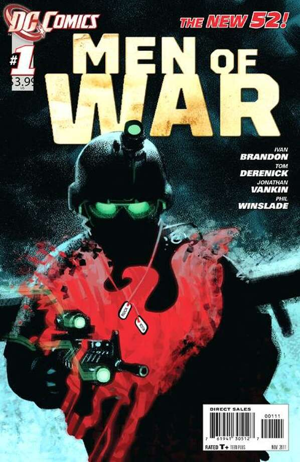 """In this comic book cover released by DC Comics, """"Men of War"""" is shown. DC Comics is bringing back the venerable war comic with a contemporary twist that bridges the military with superheroes. The two titles, """"Men of War"""" and """"Blackhawks"""" are part of DC Comic's ambitious relaunch of its fabled line of superheroes. Associated Press Photo: AP / AP2011"""