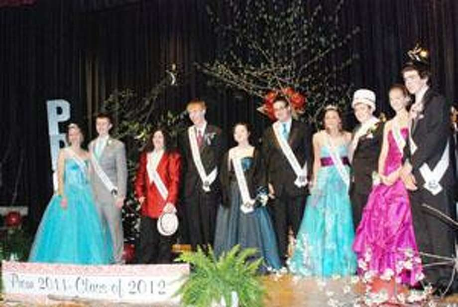 Photo Courtesy STOCKBRIDGE VALLEY CENTRAL SCHOOL Pictured from left are: Princess, Morgan Vineall; Prince, Ryan Thorna; Prom Court, Kaylene Flores, Craig Marshall, Kimberley March, Ryan Mennig, Prom Queen, Brittany LaLande; Prom King, Christopher Rifenburg; Prom Court, Emily Oot and Dale Durant.