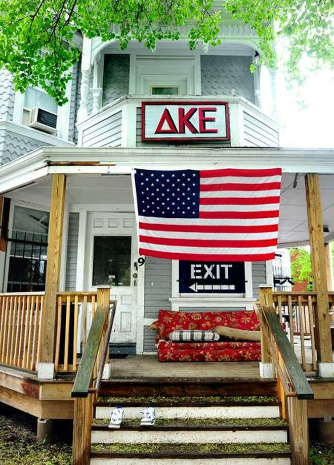 The Delta Kappa Epsilon fraternity house on Lake Place in New Haven, photographed Tuesday. Arnold Gold/Register