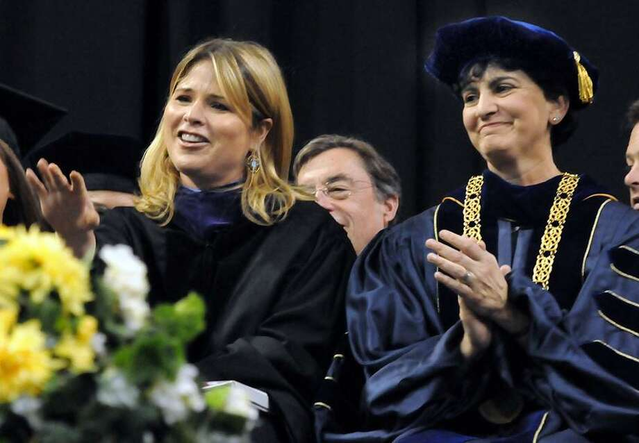 Southern Connecticut State University Commencement 2012, Webster Bank Arena, Bridgeport.  First time commencement speaker Jenna Bush Hager left and first time presiding over Southern's undergraduate commencement SCSU President Mary Papzian right. Mara Lavitt/New Haven Register5/18/12