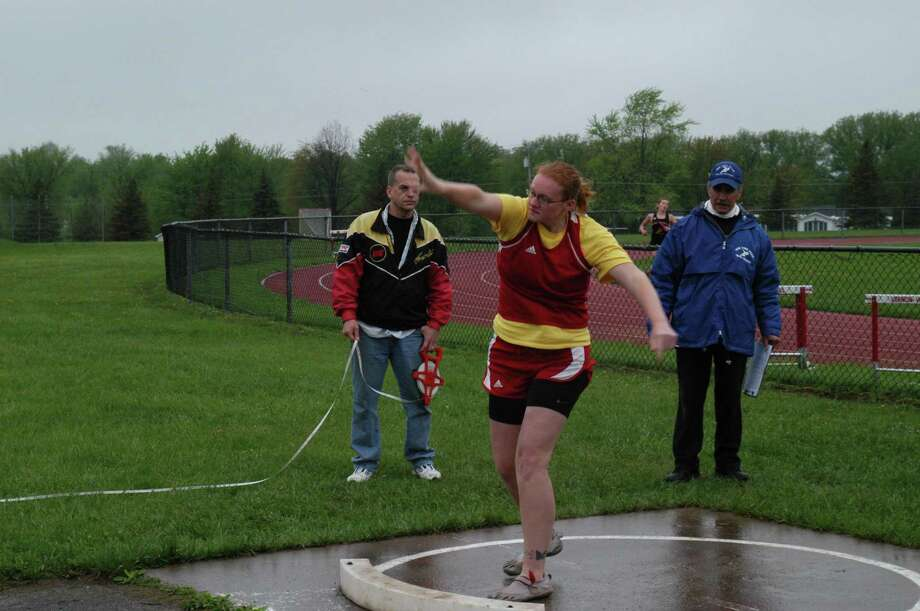 Dispatch Staff Photo by DAVID M. JOHNSON VVS' Tela Prettyman participates in the shot put at Monday's Tri-Valley League Qualifier at VVS. The meet was held to give athletes one last shot to post qualifying marks for the TVL and Section III meets.