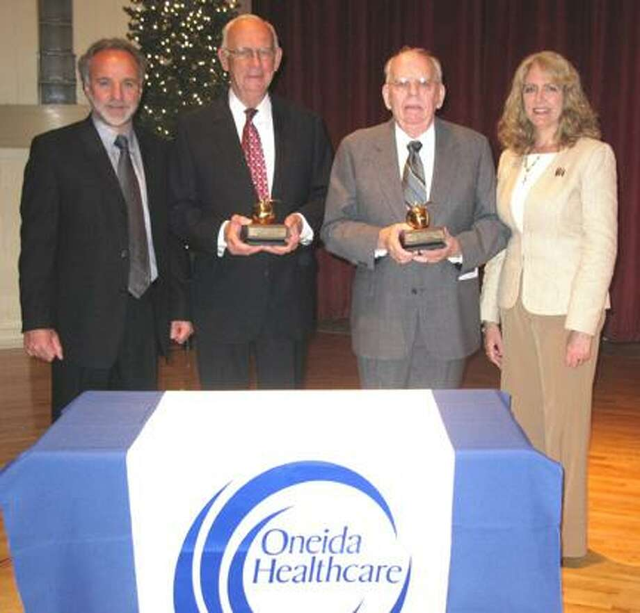 Pictured from left: Gene Morreale, president and CEO of Oneida Healthcare; James J. Devine Jr.; James L. Crowley; and Joanne Ernenwein, director of development Oneida Healthcare Foundation.
