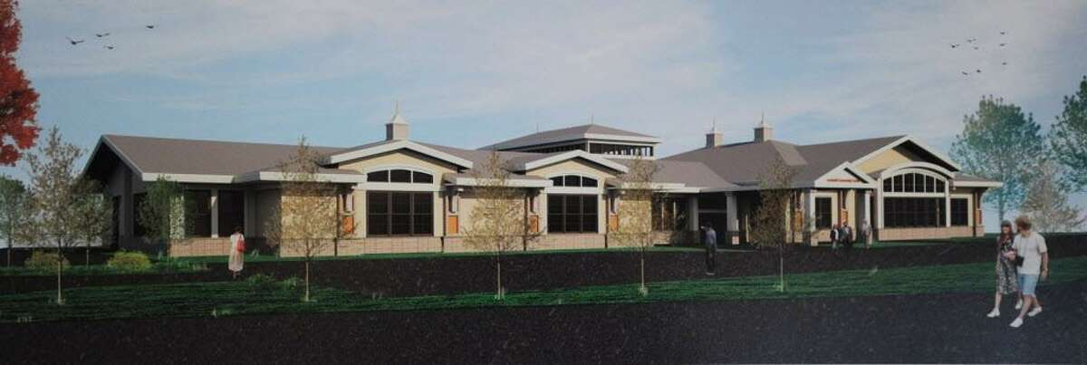 Trumbull First Selectman Tim Herbst unveiled renderings of a proposed new conmmunity center to be built on Church Hill Road during his annual State of the Town address at Tashua Knolls in Trumbull, Conn. on Tuesday, March 28, 2017.