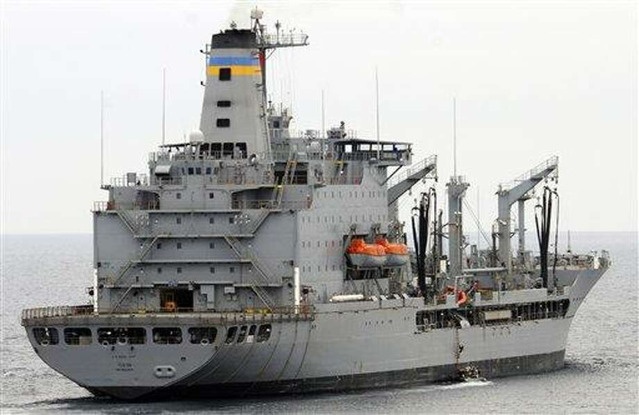 This image provided by the U.S. Navy shows the Military Sealift Command fleet replenishment oiler USNS Yukon  underway in the Pacific Ocean. The USNS Yukon and an amphibious assault ship USS Essex collided Wednesday in the Pacific Ocean, but there were no injuries and no fuel spills, the 3rd Fleet said. Associated Press Photo: AP / US NAVY