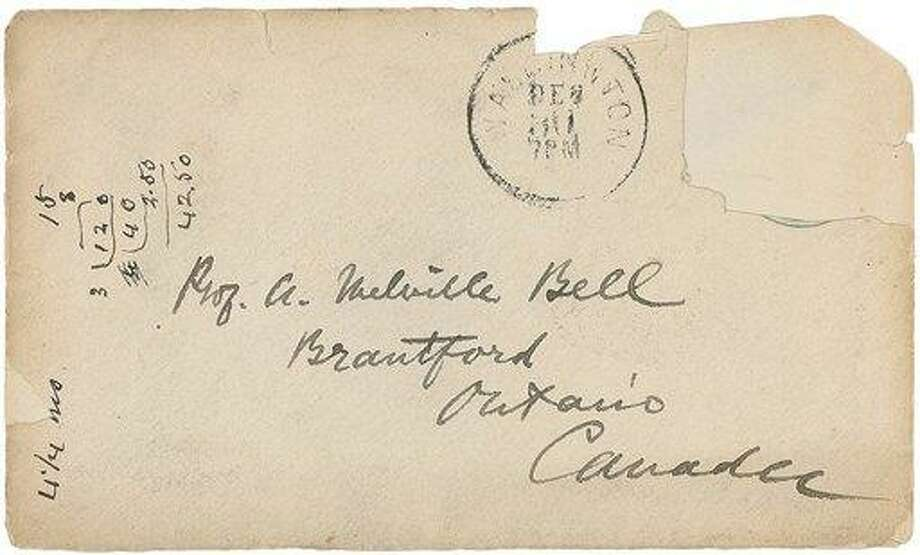 The front of an 1878 envelope Alexander Graham Bell sent to his parents. The letter contains a drawing and instructions how to ground the telephone Bell had invented. Associated Press Photo: AP / RRAuction