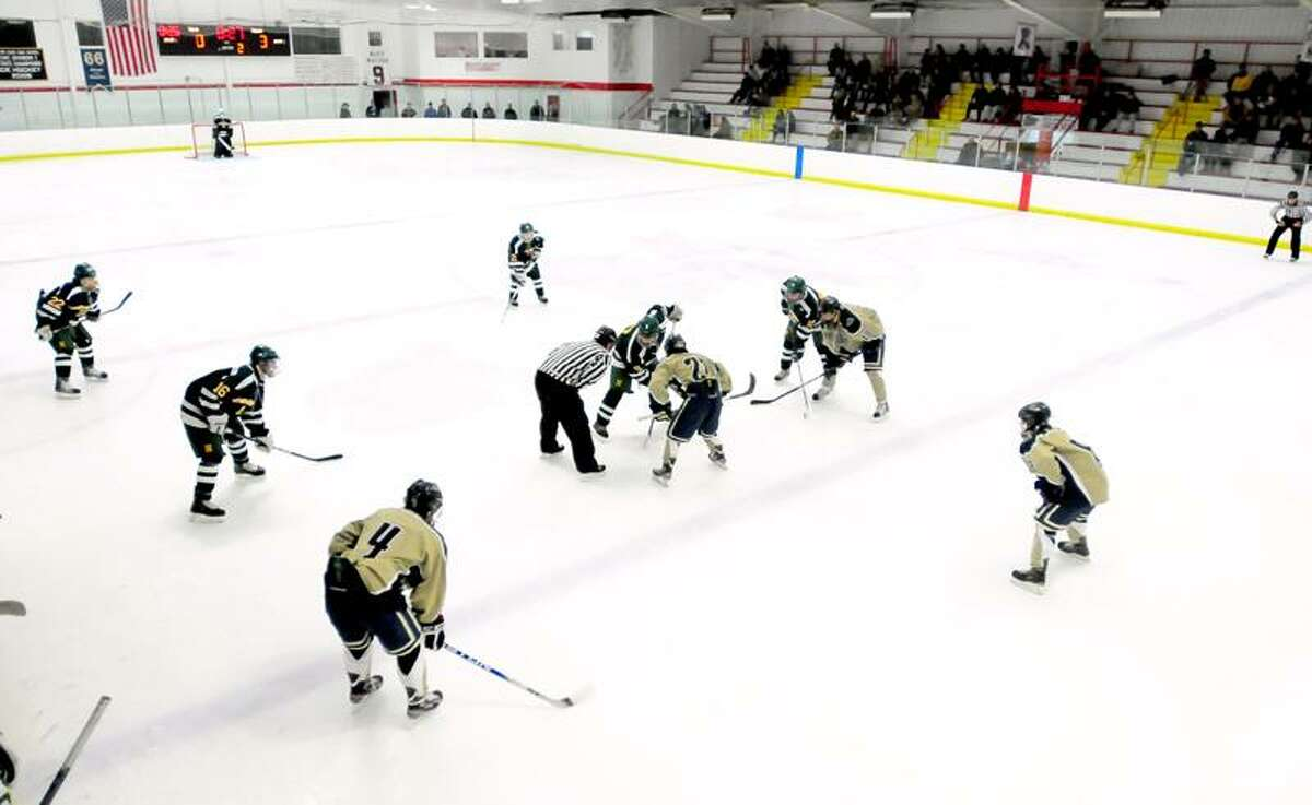 Notre Dame of Fairfield plays against Hamden at the Milford Ice Pavilion on 1/19/2012.Photo by Arnold Gold/New Haven Register AG0435F