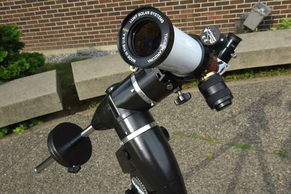 One of the telescopes astronomer Valerie Rapson will be using for an eclipse viewing party at the Dudley Observatory at MiSci Tuesday, Aug. 15, 2017 in Schenectady, N.Y.  (Lori Van Buren / Times Union)
