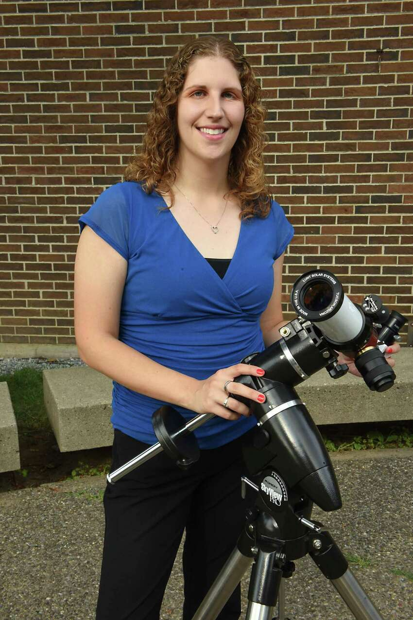 Astronomer Valerie Rapson with one of her telescopes she will be using for an eclipse viewing party at the Dudley Observatory at MiSci Tuesday, Aug. 15, 2017 in Schenectady, N.Y. (Lori Van Buren / Times Union)