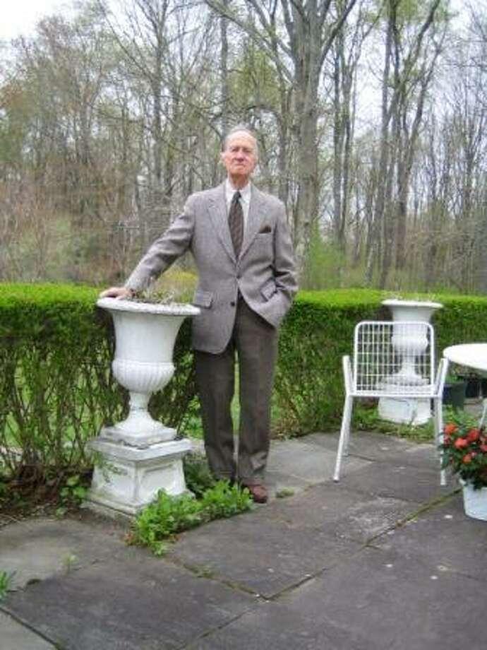 Tom Drew on his patio in Salisbury before going to the Metropolitan Museum of Art in 2005.