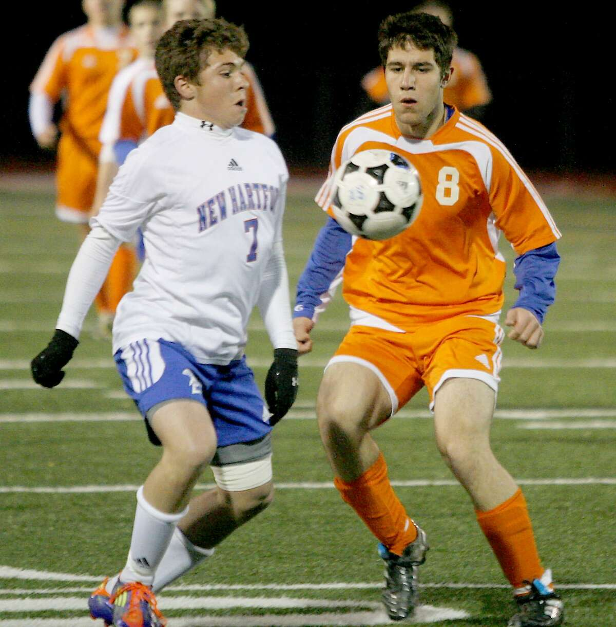 Dispatch Staff Photo by JOHN HAEGER twitter.com/oneidaphoto New Hartford's Josh Pearlman (7) and oneida's Botros Toro (8) work for the ball in the first half of the match in New Hartford on Thursday, Oct. 20, 2011.
