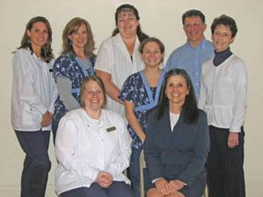 Front Row: Jeanette Smith, RDH  and Nancy Mitchell, Office Manager Back Row: Carly Falkenmeyer,RDH, Carrie Jones, CDA, Linda Premo, Tara DeMarco, DA, Bruce Stewart, DDS, and Marilyn Turnbole.