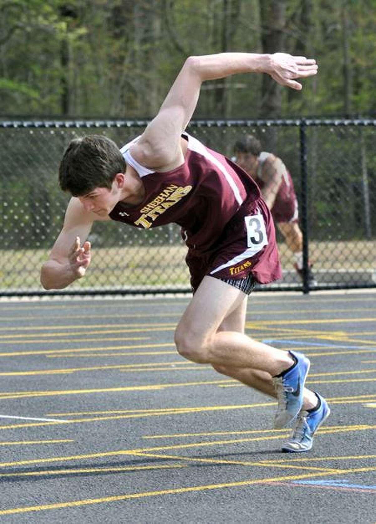 Sheehan's Justin Doehr takes off in the 200 meter race. Melanie Stengel/Register