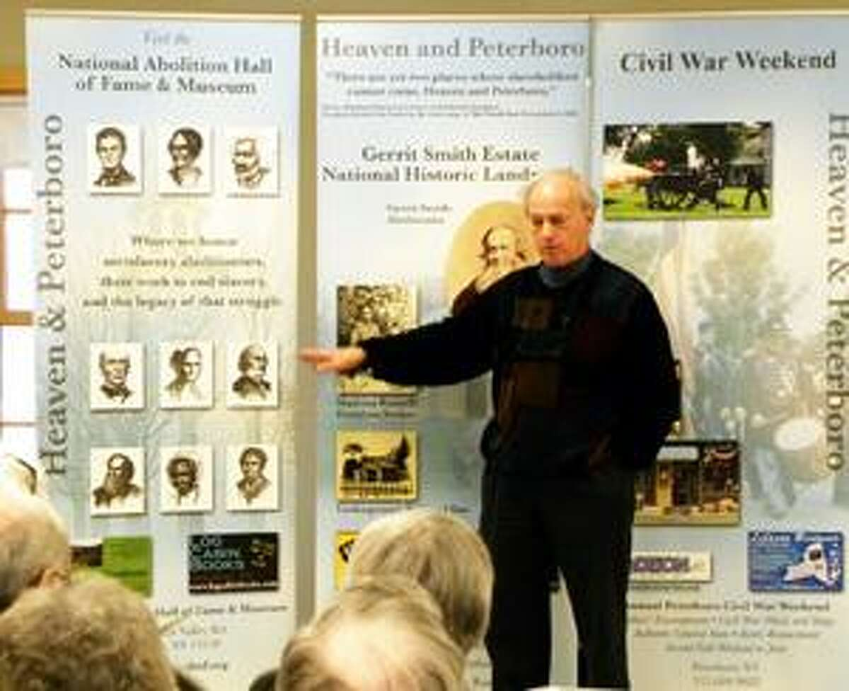 SUBMITTED PHOTO Norm Dann lectures on abolitionists at the Chittenango Landing Canal Boat Museum.
